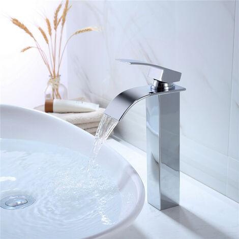 Grifería de baño Grifería alta Lavabo de latón Grifos monomando para lavabos de cromo Diseño moderno
