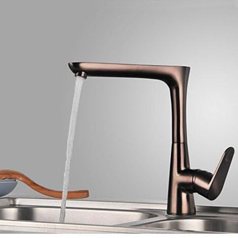 Grifería de cocina de diseño contemporáneo en acabado de bronce frotado con aceite (una manija)