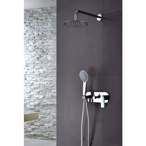 Griferia de ducha empotrada de acero inoxidable monomando pared Serie Italia - IMEX