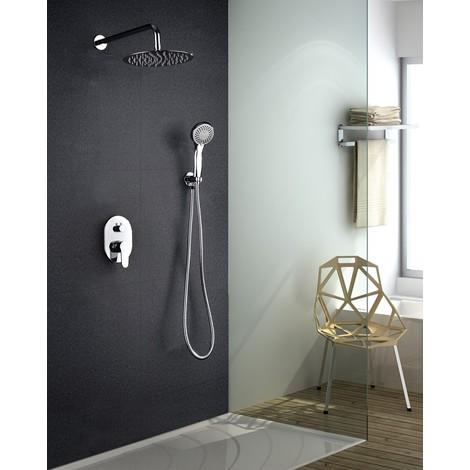 Griferia de ducha empotrada pared de acero inoxidable monomando Serie Oslo - IMEX