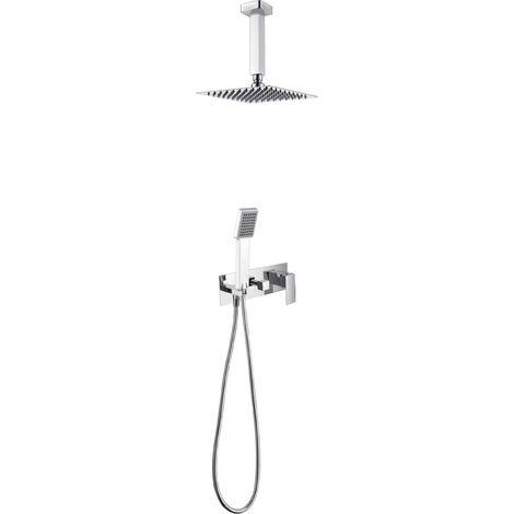 Griferia de ducha empotrada pared de acero inoxidable monomando y techo Serie Finlandia - IMEX
