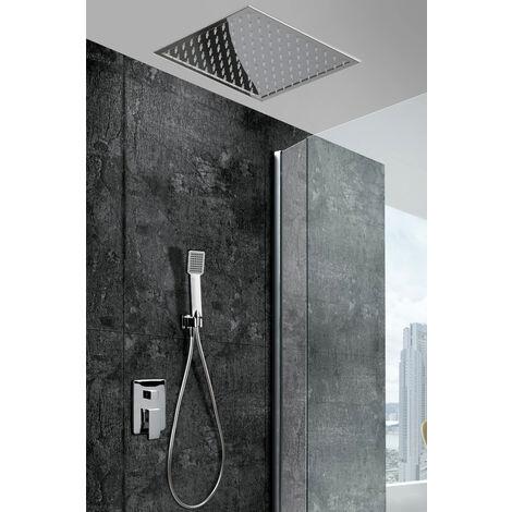Griferia de ducha empotrada pared y techo de acero inoxidable monomando Serie Gales - IMEX