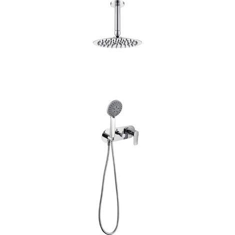 Griferia de ducha empotrada pared y techo de acero inoxidable Serie Francia - IMEX