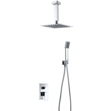 Grifería de ducha empotrada pared y techo monomando. Serie Berlín