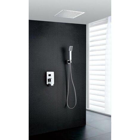 Grifería de ducha empotrada pared y techo. Serie Gales Termostática