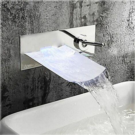 Grifería de lavabo con caño ancho, efecto cascada, estilo contemporáneo con acabado general cromado (montaje en pared)