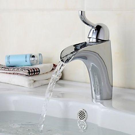 Grifería de lavabo contemporánea con salida de agua en cascada acabado cromado