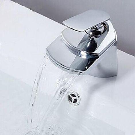 Grifería de lavabo contemporánea con salida de agua en cascada de caño ancho