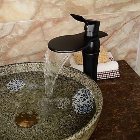Grifería de lavabo en cascada negra con boca ancha, acabado en bronce frotado con aceite