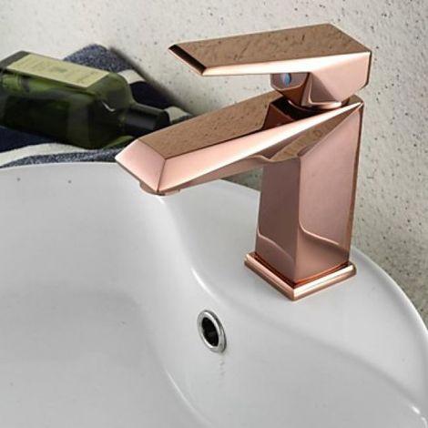 Grifería de lavabo en forma recta con acabado en oro rosa