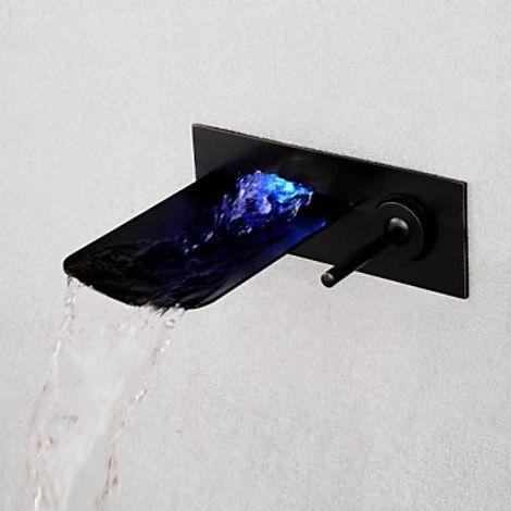 Grifería de lavabo montada en la pared negra, grifería de diseño moderno con una sola manija