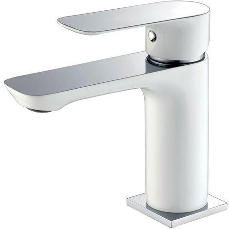 Grifería lavabo monomando CASSIO blanco/cromo + valvula incluida