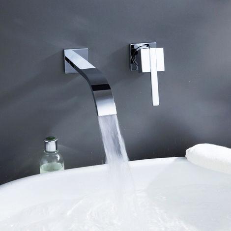 Grifería moderna para lavabo de pared de latón macizo