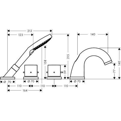 Grifería para bañera de 4 agujeros Hansgrohe Axor Starck con termostato y Zerogriffe, color: cromado - 10461000