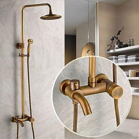 """Grifería y bañera antiguas con ducha de 8 """"+ ducha de mano"""
