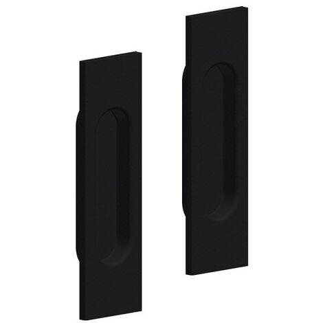 Griffmulden Set für Schiebetüren, eckig, Farbe schwarz, für Durchgangstüren, Zimmertüren, Schranktüren
