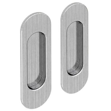Griffmulden Set für Schiebetüren, oval, Nickel gebürstet, für Durchgangstüren, Zimmertüren, Schranktüren