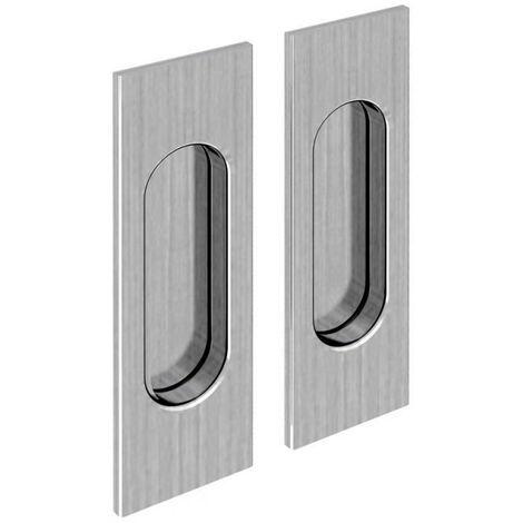 Griffmulden Set für Schiebetüren, rechteckig, Nickel gebürstet, für Durchgangstüren, Zimmertüren, Schranktüren