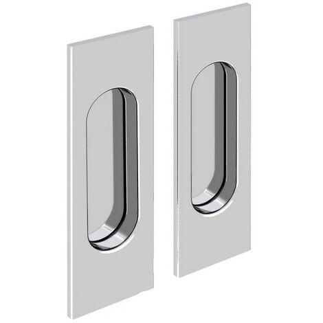 Griffmulden Set für Schiebetüren, rechteckig, verchromt, für Durchgangstüren, Zimmertüren, Schranktüren