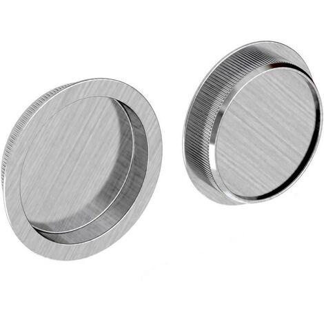 Griffmulden Set für Schiebetüren, rund, Nickel gebürstet, für Durchgangstüren, Zimmertüren, Schranktüren