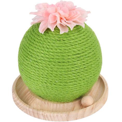 Griffoir Chat Sisal - Grattoir Cactus avec Jouet Interactif pour Chat Arbre à Chat avec Base en Bois - 25x25x24cm