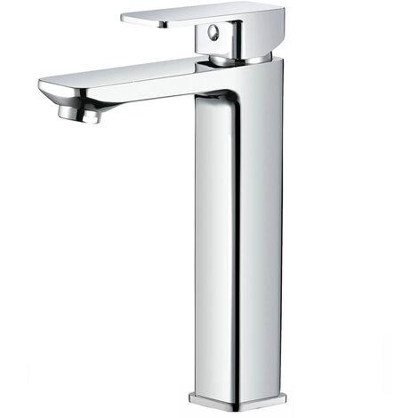 Grifo ALTO monomando para lavabo de la serie CHE indicado para lavabos de sobre encimera tipo bol. Fabricado en latón con acabados en cromo brillo. Diseño elegante y robusto. Repuestos garantizados Kibath