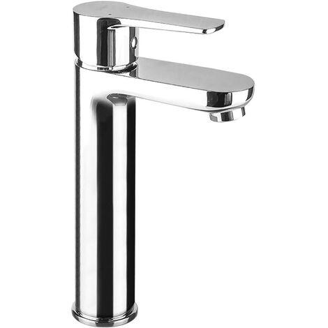 Grifo ALTO monomando para lavabo de la serie SIO perfectos para lavabos de sobre encimera o tipo bol. Fabricado en latón de alta calidad y acabados en cromo con brillo. Repuestos garantizados Kibath