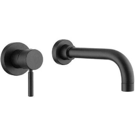 Mezclador de lavabo de pared con caño de 22 cm Bugnatese Kobuk 2246-2246SC | Negro mate - Sin Desagüe