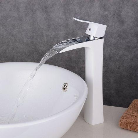 Grifo cascada blanco para lavabo de baño moderno y de latón