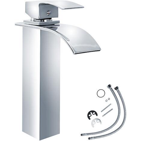 Grifo cascada caño alto (modelo 1) - grifo para baño de latón y cromo, grifo para lavabo con cartucho cerámico y latiguillos, grifo para bidé diseño minimalista - grau
