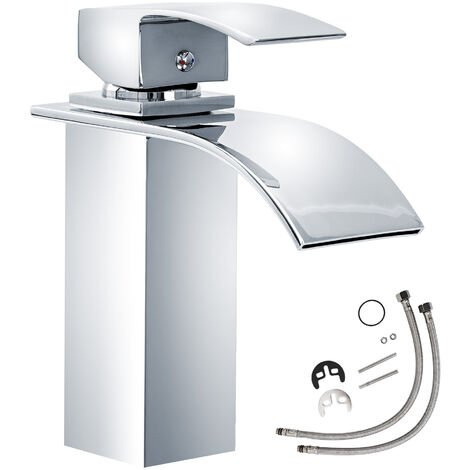 Grifo cascada (modelo 1) - grifo para baño de latón y cromo, grifo para lavabo con cartucho cerámico y latiguillos, grifo para bidé diseño minimalista - gris