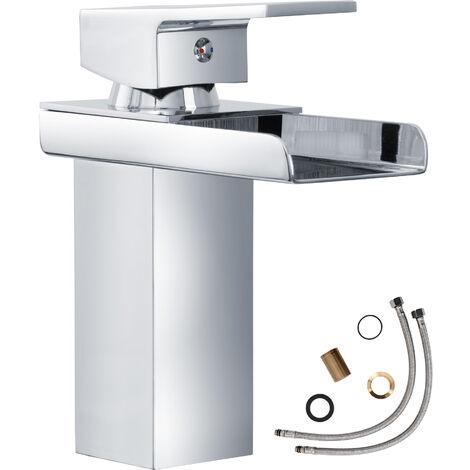 Grifo cascada (modelo 2) - grifo para baño de latón y cromo, grifo para lavabo con cartucho cerámico y latiguillos, grifo para bidé diseño elegante - grau