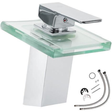 Grifo cascada y vidrio con LED (modelo 1) - grifo para baño de latón y cromo, grifo para lavabo con cartucho cerámico y latiguillos, grifo con luces LED varios colores - gris