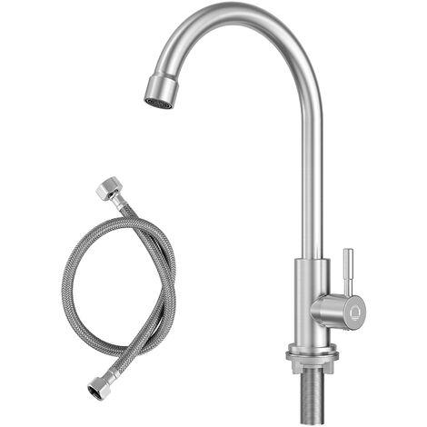 Grifo Cocina de Acero Inoxidable Negro Grifo de Cocina Giratorio 360 ° Grifo Cocina Monomando Agua Frío y Calor Disponibles
