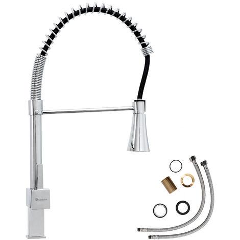 Grifo con iluminación LED y alcachofa extraíble (modelo 2) - grifo para baño de latón y cromo, grifo de cocina con alcachofa extraíble, grifo orientable con luces LED - gris