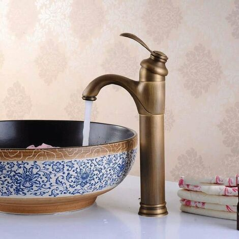 Grifo de armario y lavabo latón, acabado bronce antiguo