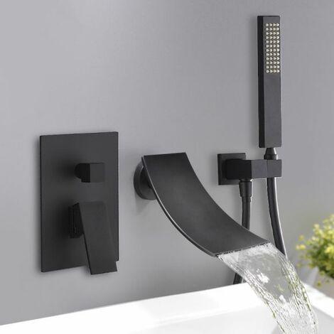 Grifo de bañera oculto sofisticado con ducha de mano Negro