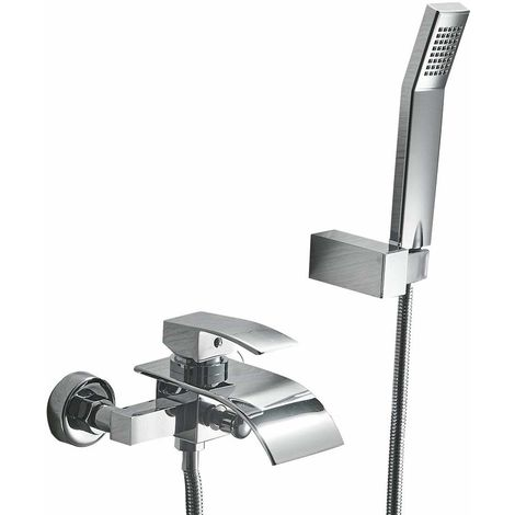 Grifo de Bañera la Cascada con el Mezclador de la Ducha del Baño del Diseño Moderno, Cromado