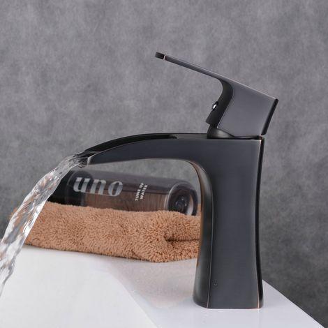 Grifo de baño de latón con cascada negra