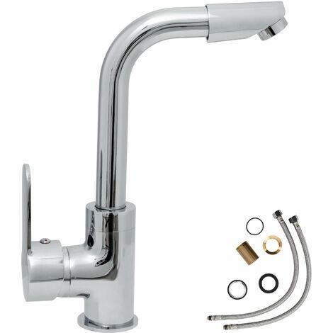 """main image of """"Grifo de baño giratorio - grifo para baño de latón y cromo, grifo para lavabo con cartucho cerámico y latiguillos, grifo funcional girante rotatorio - gris"""""""