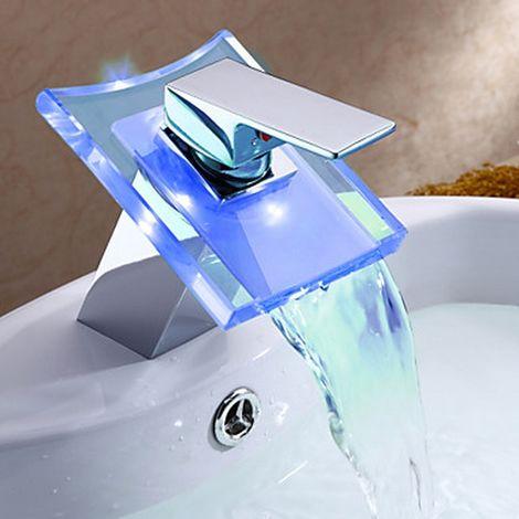Grifo de cascada Cambio de color del lavabo del baño (acabado cromado)