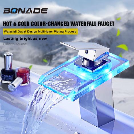 Grifo de cascada con iluminación LED RGB, grifo mezclador monomando para lavabo, grifo de latón, grifo, temperatura y colores