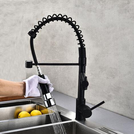 Grifo de cocina 2 mezcladores con 1 ducha de mano en latón cromado negro