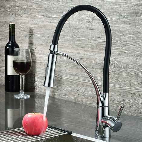 Grifo de cocina con caño retráctil y manguera flexible en negro y cromo