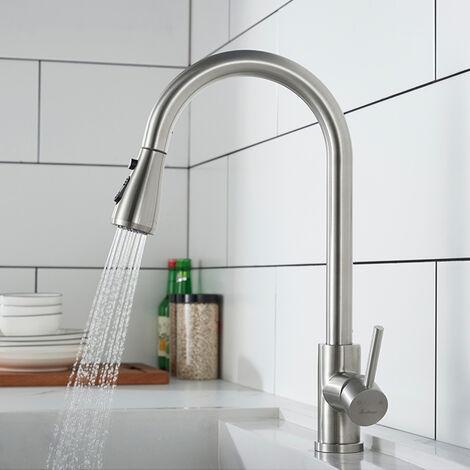"""main image of """"Grifo de cocina con ducha extraíble Grifo para Fregadero cepillado de acero inoxidable que gira 360° con 3 modos"""""""