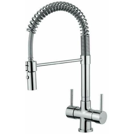 Grifo de cocina de 3 vías agua filtrada Quadrodesign 303/4 | Cromo