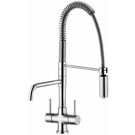 Grifo de cocina de 3 vías agua filtrada quadrodesign 323/1 | Cromo