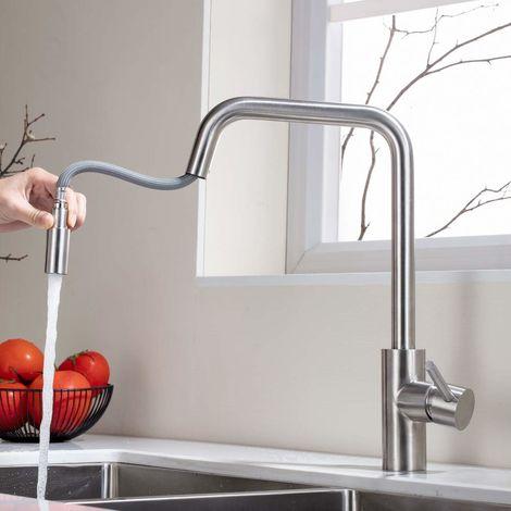 Grifo de cocina extensible 360°, Monomando de Fregadero con ducha Grifería de Cocina para cocina Agua Fría y Caliente
