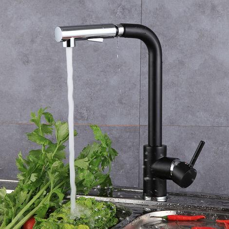 Grifo de cocina extensible,grifo de cocina giratorio 360 ° WYCTIN extensible negro,grifo de lavabo con ducha,grifo monomando de cocina de alta presión,grifo mezclador para fregadero de cocina