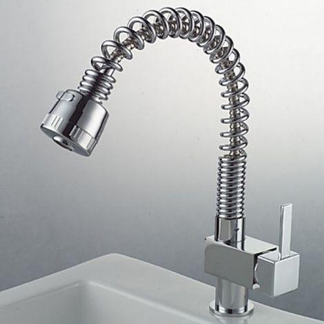 Grifo de cocina flexible con tubería de agua de resorte, grifo acabado en cromo